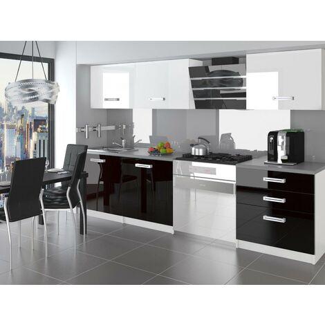 ALTO   Cuisine Complète Modulaire Linéaire L 180cm 6 pcs   Plan de travail INCLUS   Ensemble de meubles de cuisine   Blanc-Noir