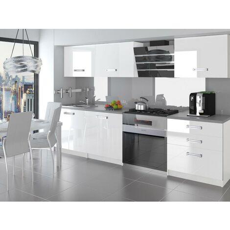 ALTO   Cuisine Complète Modulaire Linéaire L 180cm 6 pcs   Plan de travail INCLUS   Ensemble meubles de cuisine modernes   Blanc