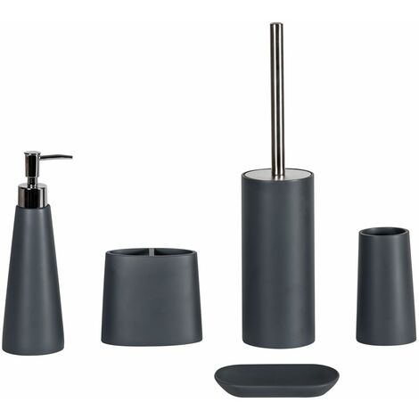 Alto Freestanding Grey Resin Bathroom Accessory Set