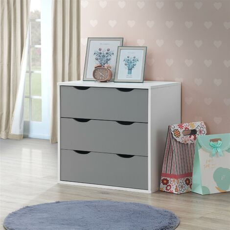 Alton 3 Drawer Bedroom Cabinet Bedside Chest Of Drawers White & Grey