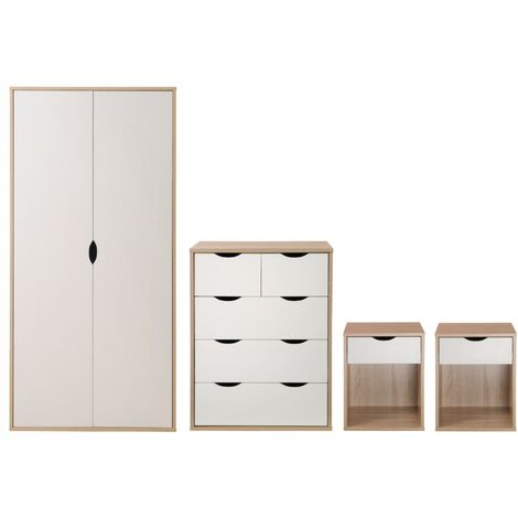 Alton 4 Piece Bedroom Furniture Set Oak & White Wardrobe Chest 2x Bedside Table