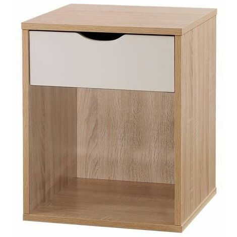 Alton Bedside Cabinet Bedroom Furniture Nightstand Table 1 Drawer Oak White