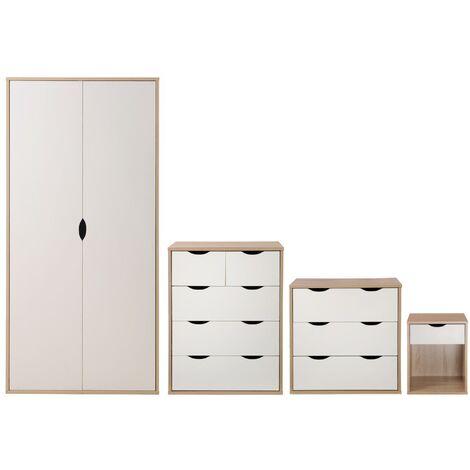 Alton Quad Bedroom Furniture Set Sonoma Oak & White Wardrobe Chest Bedside Table