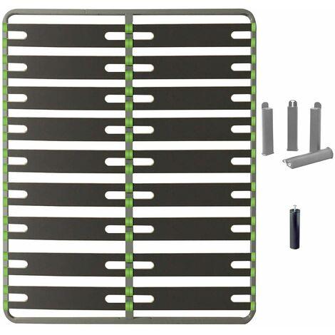 AltoSenso - Pack Sommier 2x9 Lattes 160x200cm + Pieds Gris + Pied Central
