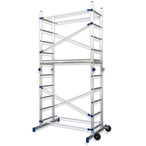 Alu Gelenkgerüst; HxBxT 310x155x112cm klappbar; auch als Arbeitsplattform; Leiter; Stehleitern verwendbar; 2 Rollen; max. Arbeitshöhe 3;78m; TÜV GS