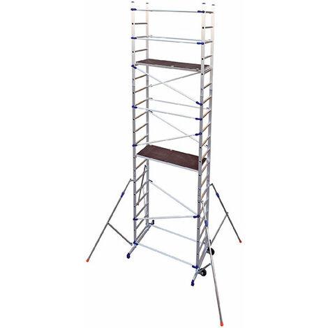 Alu Gerüst rollbar; 6;46m max. Arbeitshöhe; mit Ausleger und Höhenausgleich; 2 Bühnen 156x50cm mit Durchstiegsklappe; Bühnehöhe 4;46m; Dreieckausleger