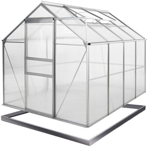 Alu Gewächshaus 7,6m³ - Deuba - mit Schiebetür, 2 Dachfenstern und Regenrinne - verzinktes Stahlfundament - UV-Licht beständig