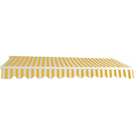 Alu Markise gelb / weiß 3 x 2,5 m Gelenkarmmarkise Sonnenschutz Sichtschutz