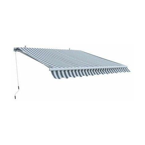 Alu Markise grau / weiß 3 x 2,5 m Gelenkarmmarkise Sonnenschutz Sichtschutz