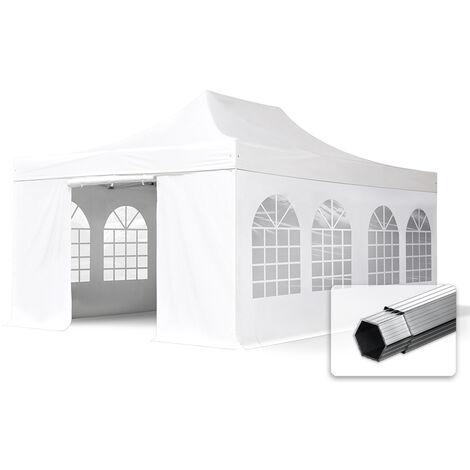 ALU Pavillon Faltpavillon 4x6m mit Fenstern robust und wasserdicht PROFESSIONAL Partyzelt weiß feuersicher