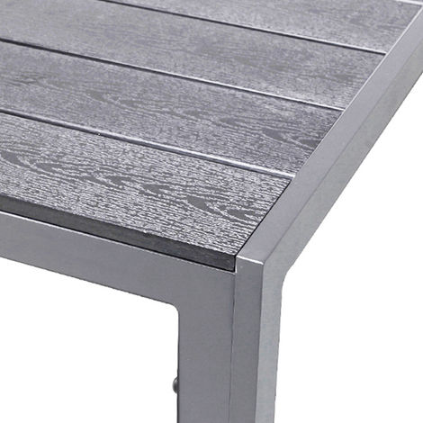 Alu Polywood Gartentisch Silber/grau 150x90x74cm-D726881