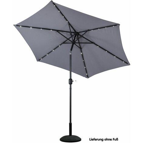Alu Sonnenschirm Ø 270cm Gartenschirm Solar LED Beleuchtung Schirm anthrazit