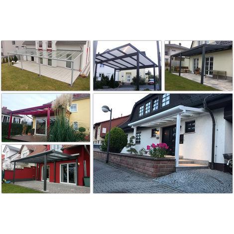 Alu Überdachung alle Größen inkl. Doppelstegplatten 16mm klar, Made in Germany