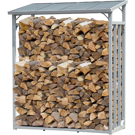 Aluminio Chimenea Madera Estante 130 x 70 x 185 cm Jardín Prinidor Refugio de 1,6 m³ de Madera Almacenamiento apilables Ayuda Exterior