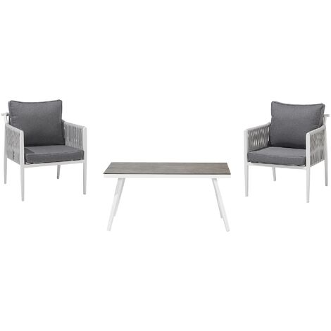 Aluminium 2 Seater Garden Set Grey LATINA