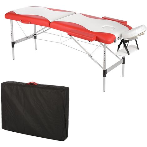 ALUMINIUM 2 ZONES MASSAGELIEGE MASSAGEBANK ALU LIEGE WEIß / ROT - 12,5 KG NEW
