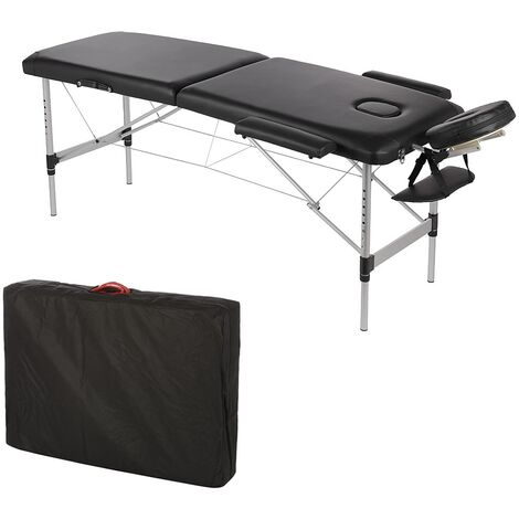 ALUMINIUM 2 ZONES ONLY 12,5 KG MASSAGE COUCH MASSAGE BENCH BLACK
