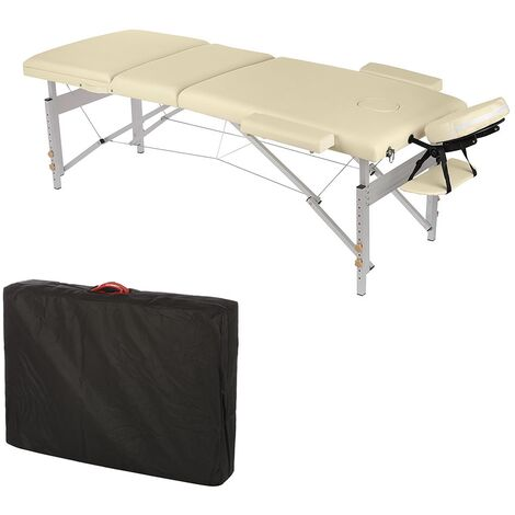 ALUMINIUM 3 zone massage table massage bench ONLY 12,5 KG Mobile Beige