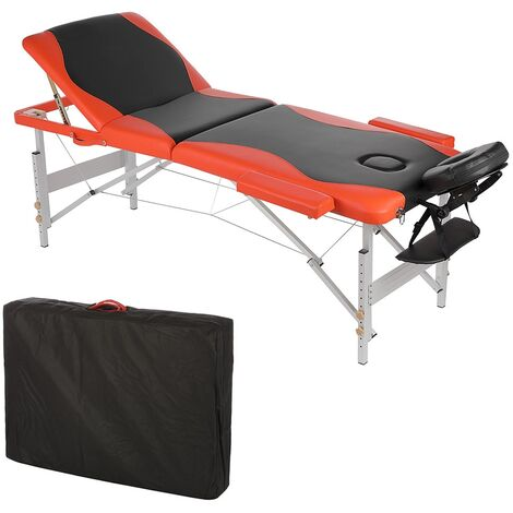 ALUMINIUM 3 ZONES MASSAGE COUCH THERAPY COUCH BLACK ORANGE + BAG COUCH