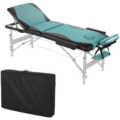 ALUMINIUM 3 ZONES MASSAGELIEGE 2 colours BLACK/door. BAG COSMETIC COUCH M01