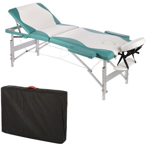 ALUMINIUM 3 ZONES MASSAGELIEGE MASSAGEBANK Lying white/green + TASCHE - BANK