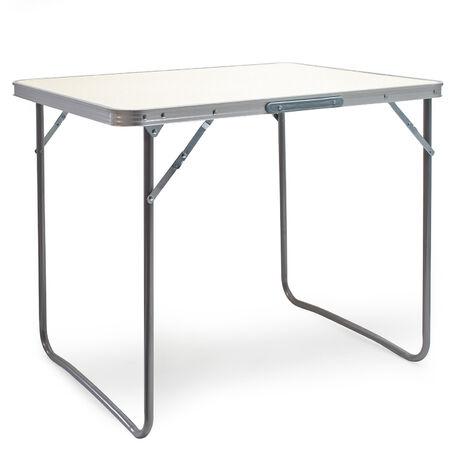 Aluminium Camping Klapptisch mit 80x60cm weißer Tischplatte MDF mit Alu-Rahmen Koffertisch Falttisch