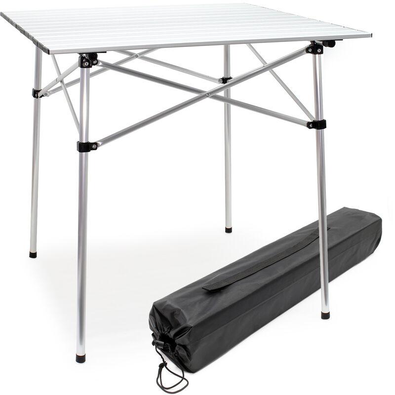 Aluminium Camping Rolltisch mit 70x69cm zusammenrollbarer Tischplatte und Transporttasche Falttisch