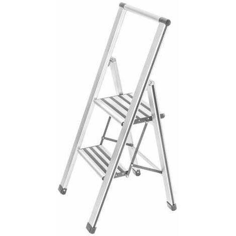 Aluminium design folding stepladder 2-step white WENKO