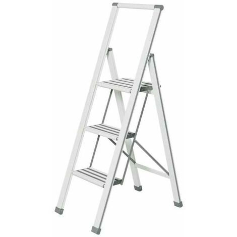 Aluminium design folding stepladder 3-step white WENKO