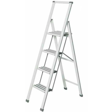 Aluminium design folding stepladder 4-step white WENKO