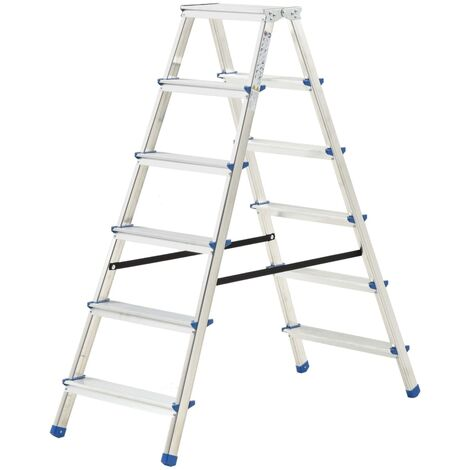 Aluminium Double-Sided Step Ladder 6 Steps 136 cm