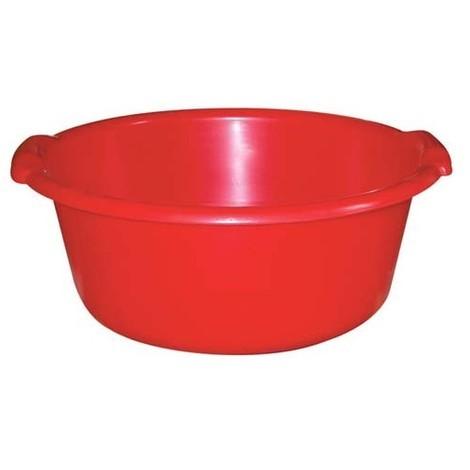 ALUMINIUM ET PLASTIQUE - Bassine ronde 14 L - D: 41 cm - H 17.5 cm - rouge
