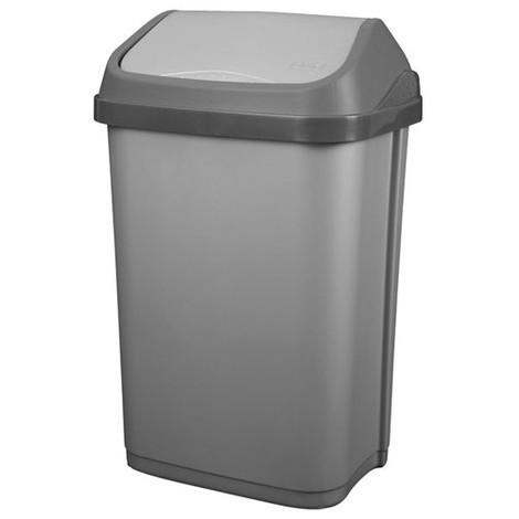 ALUMINIUM ET PLASTIQUE - Poubelle 50L couvercle basculant - gris