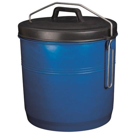 ALUMINIUM ET PLASTIQUE - Poubelle à couvercle inséparable - 16 L - bleu