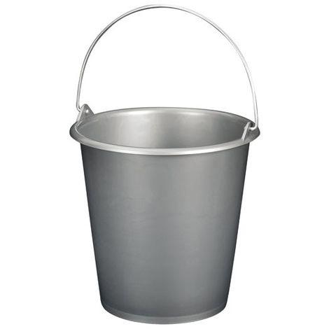 ALUMINIUM ET PLASTIQUE - Seau de ménage avec anse en métal - 5 L - gris