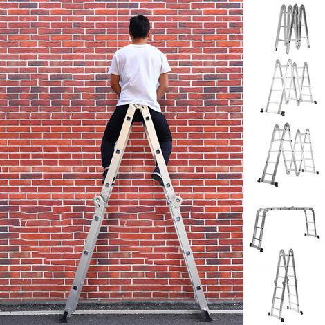Aluminium Folding Ladder Telescopic Step Ladder Garden Triple Extension Ladders