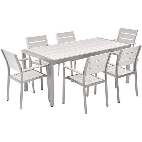 Aluminium Garden Dining Set White VERNIO