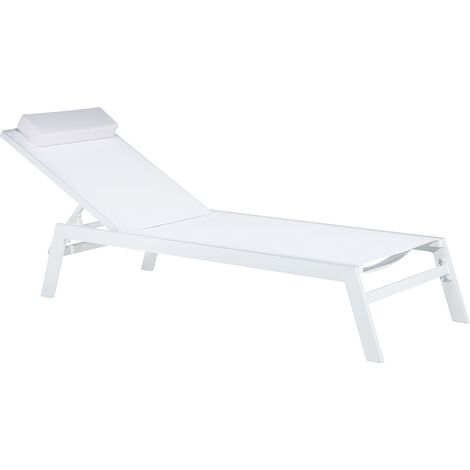 Aluminium Garden Lounger - Outdoor Patio Sunlounger - White - CATANIA II