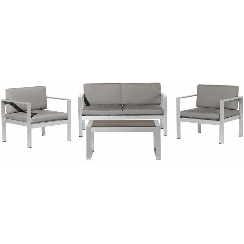 Gartenset Dunkelgrau Aluminium Polyester 6-Sitzer Terrasse Outdoor Modern - BELIANI
