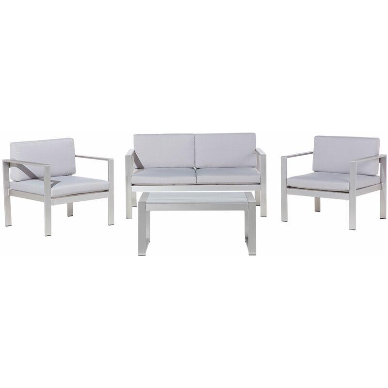 Gartenset Hellgrau Aluminium Polyester 6-Sitzer Terrasse Outdoor Modern - BELIANI