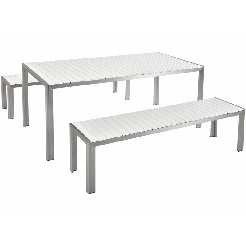Beliani - Gartenmöbel Set Weiß Kunstholz Aluminium 8-Sitzer Rechteckig Outdoor Modern