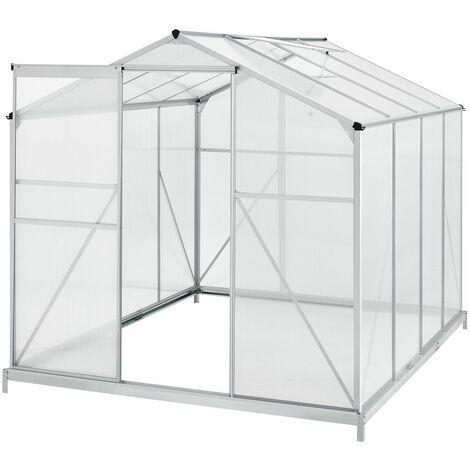 Aluminium Gewächshaus mit Fundament für Garten | 4,75 qm | 190 × 253 cm | 1 Dachfenster & Schiebetür | 4 mm Platten | Juskys