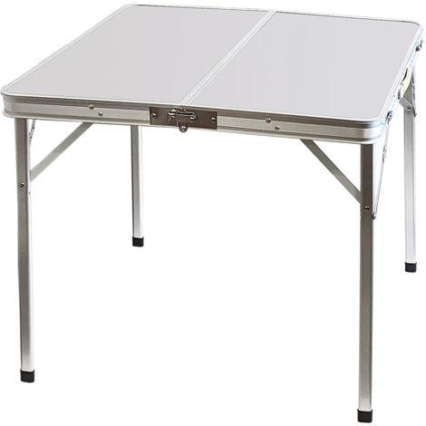Aluminium Klapptisch 'Domburg' Campingtisch 80x80cm Weiß Gartentisch Beistelltisch Falttisch Picknicktisch Alutisch faltbar