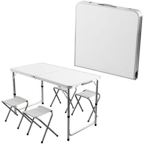 Aluminium Klapptisch 'Zandvoort' Campingtisch 120x60cm H62/70cm inklusive 4 Hocker Gartentisch Falttisch Picknicktisch faltbar
