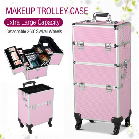 Aluminium Makeup Case 3 in 1 Cosmetic Travel Case Organiser Rolling Trolley on wheels for women/Salon Hairdresser Pink