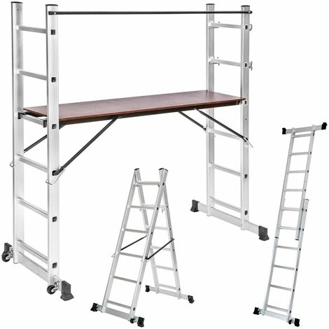 Aluminium multi-purpose ladder with scaffold - scaffolding, telescopic ladder, ladder - silver - silber
