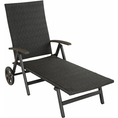 Sun lounger with armrests Auckland - reclining sun lounger, garden lounge chair, sun chair - black - black