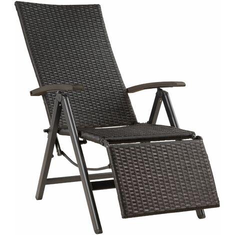 Reclining garden chair with footrest - black