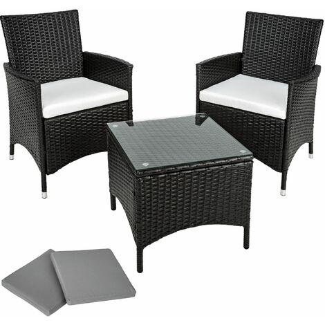 Rattan garden furniture set Athens 2 chairs + table - garden tables and chairs, garden furniture set, outdoor table and chairs - black