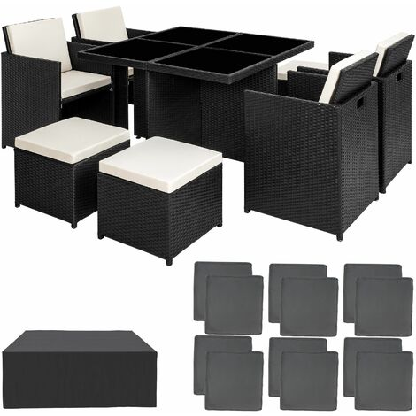 Rattan garden furniture set Manhattan with protective cover - garden tables and chairs, garden furniture set, outdoor table and chairs - black